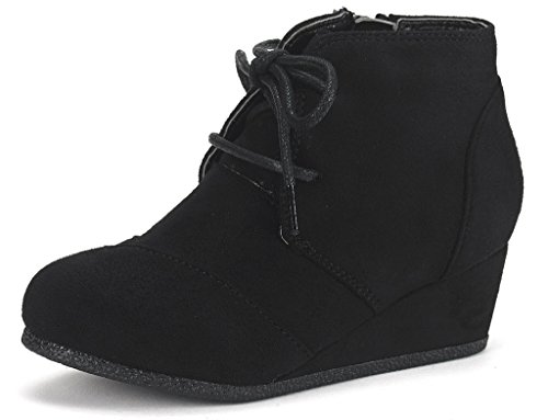 - DREAM PAIRS Toddler Tomson-K Black Girl's Low Wedge Heel Booties Shoes - 9 M US Toddler