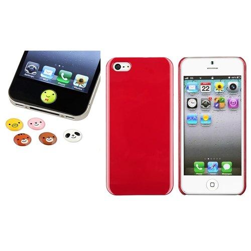 Rot Eis hart Tasche Case+6pc Tier Home Button Aufkleber für Apple iPhone 5