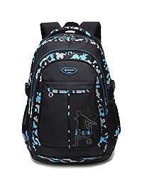 Leaper Lightweight Campus Laptop Backpacks College Travel Bag Fits 15.6 Inch Laptops Black & Blue