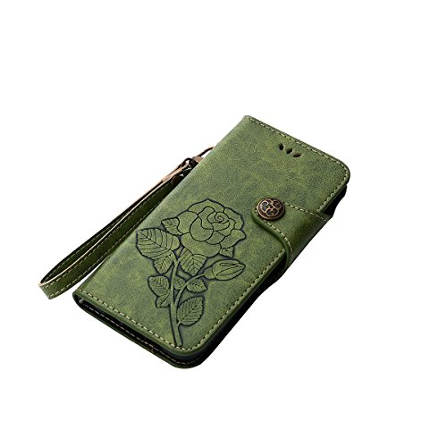 MEIRISHUN Leather Wallet Case Cover Carcasa Funda con Ranura de Tarjeta Cierre Magnético y función de soporte para Xiaomi Mi 6 - Caqui Verde