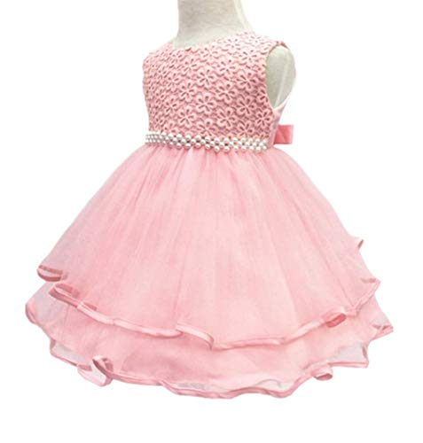 HX Infant and Toddler Princess Pearl Tutu Special Occasion Dresses for Baby Girl's Wedding Party (18M/Fit 13-18 Month, Pink)