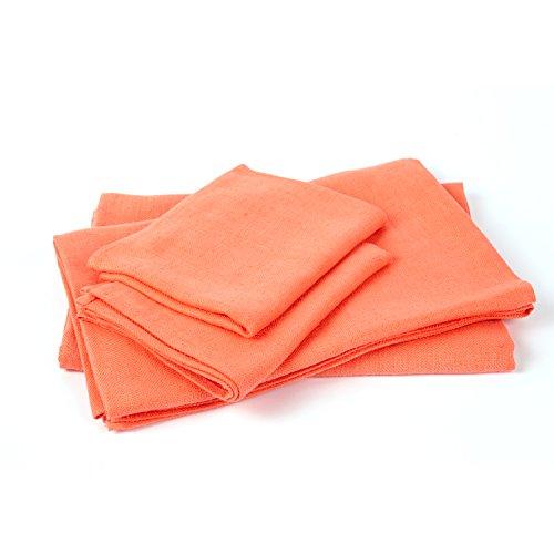 Salmon Linen Towels Set Lara by LinenMe