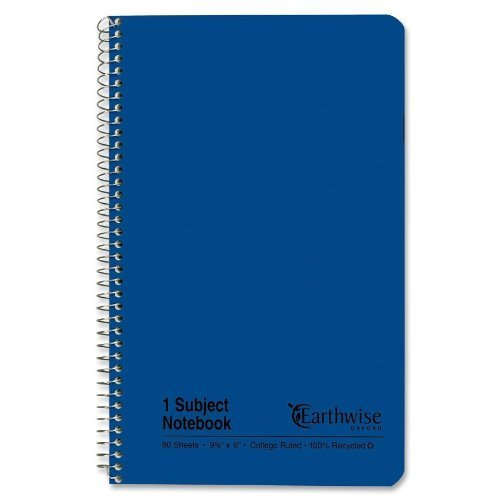 Ampad Single Wire Notebook, Recycled, Size 9-1/2 x 6 Inches, 1 Subject, Blue Cover, College Ruled with Margin Line, Not 3 Hole Punched, 80 Sheets Per Notebook (25-203) by Ampad