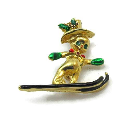 Vintage Estate Costume Jewelry - Gold Tone Leprechaun Brooch Pin Skis Christmas Hat Elf Figural Vintage Estate Costume Jewelry Vintage Estate Gift Ideas