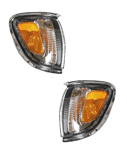 2001-2002-2003-2004 Toyota Tacoma Pickup Truck Park Corner Lamp (With Chrome Trim Bezel) Turn Signal Marker Light Set Pair Left Driver AND Right Passenger Side (01 02 03 04) ()