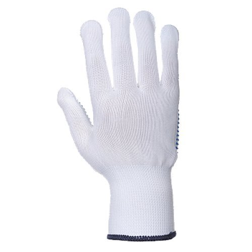 Portwest UA110WBRXL Regular Fit Nylon Polka Dot Glove, X-Large, White/Blue