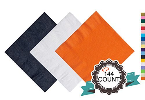 Tiger Chef 2-Ply Party Napkins White Black and Orange Paper Beverage Napkins, Orange and Black Party Supplies (144, Holloween) (Red Orange Napkins)