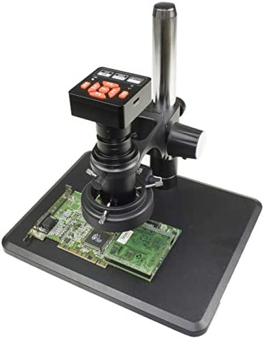 Vision Scientific VS-12-5607NS-IFR09 Monocular Zoom Industrial Inspection Microscope W 16MP HDMI/USB Digital Camera |0.7X-5.0X Zoom Range, 0.4X C-Mount | Pillar Stand W Large Base |144-LED Ring Light