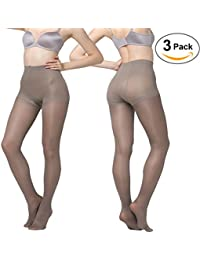 Women's 80D Tights 3 Pack Stockings Black Semi Opaque Pantyhose
