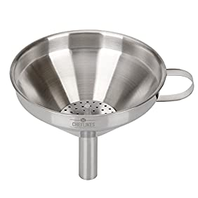 Cheflikes Stainless Steel Kitchen Funnel- 5-Inch Capacity- Removable Strainer IncludedSuitable For Both Liquids, Solids & Powder- Filter For Cooking Oils & Fluids
