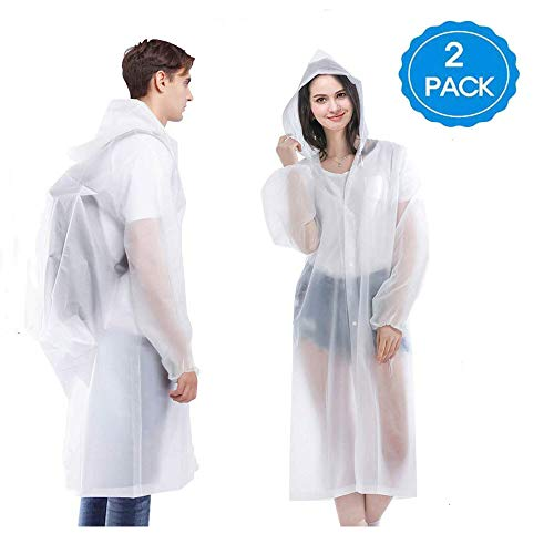 HLK.Sports Upgraded Rain Poncho, 2 Pack Waterproof Reusable Adult Rain Coat Jacket with Hoods and Sleeves for Outdoor Activities (A-White)