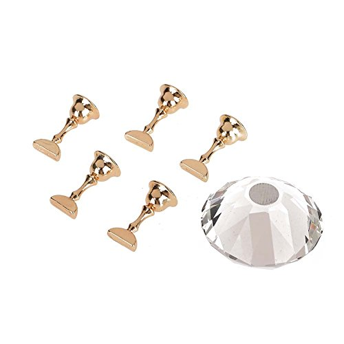 Nail Art Display Stand Crystal Alloy Nail Tips Stand Holders Magnetic Manicure Nails Salon Tool 4Colors(White)