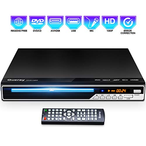 Purchase Gueray DVD Player, All Region Free DVD CD Recorded Disc Player with HDMI/AV Output, HD 1080...