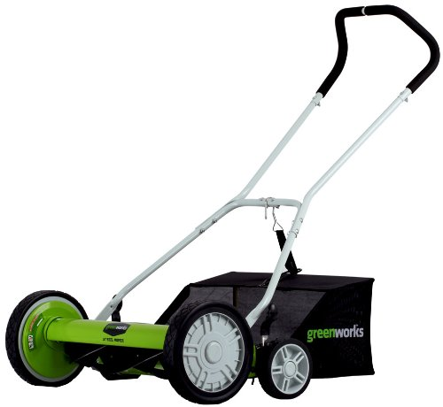 Greenworks 18-Inch Reel Lawn Mower with Grass Catcher 25062 (Equipment Green Lawn)
