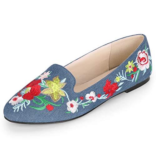 Allegra K Women's Slip on Denim Blue Embroidery Flat Loafers - 9 M US
