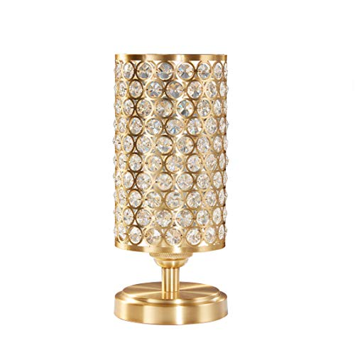 Doraimi 1 Light Crystal Table Lamp with Dyed Antique Brass Finish,Modern and Concise Style Desk Lamp with Polyhedral,Opal Crystal Shade for Bedroom, Living Room, Office, LED Bulb(not Include)