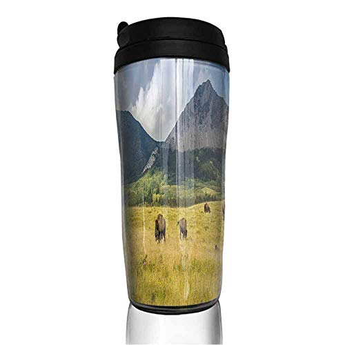 (coffee cups holder Panoramic view of Prairie Buffalo and Mountains 12 oz,coffee cup charms for bracelets)