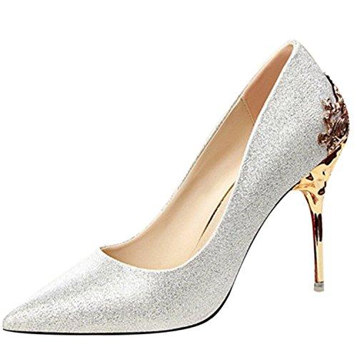 Azbro Mujer Zapatos de Boda Fiesta Puntera Apuntada Tacón Alto Tacón de Aguja de Moda Plateado
