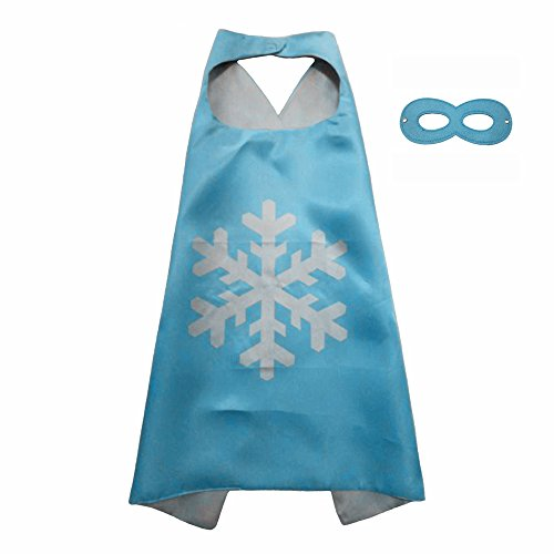 FASHION ALICE Superhero Superman CAPE & MASK SET Adult, Mens, Womens Halloween Costume Cloak Kids Girl And Boy Cape and Mask Costume for Child,Pretend Play,Dress Up,Parties (Blue Elsa Snowflake)