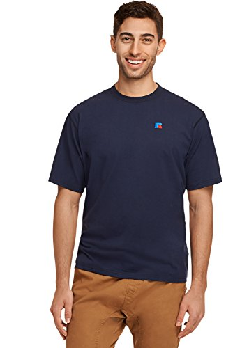 Athletic Embroidered T-shirt (Russell Athletic Heritage Men's Baseliner Eagle R T-Shirt, Navy, S)