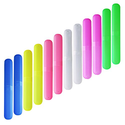 (ISusser Pack of 12 Plastic Toothbrush Case, 6 Color Portable Dust-proof Toothbrushes Holder for Inside and Outside)