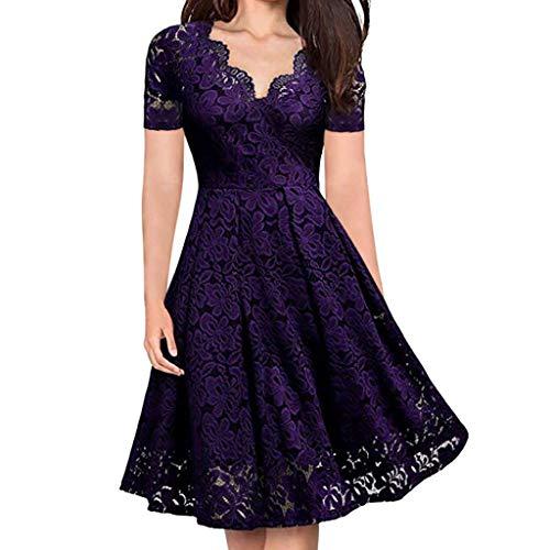 aa8eda875e29 yoyorule Women Casual Top   Dress Women V-Neck Off Shoulder Lace Formal  Evening Party