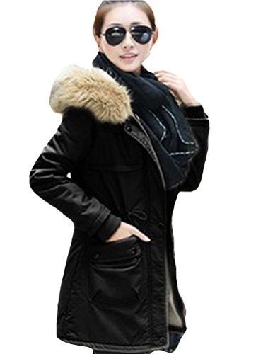 Mordenmiss Women's Winter Fur Collar Long Down Coat Jacket Black M