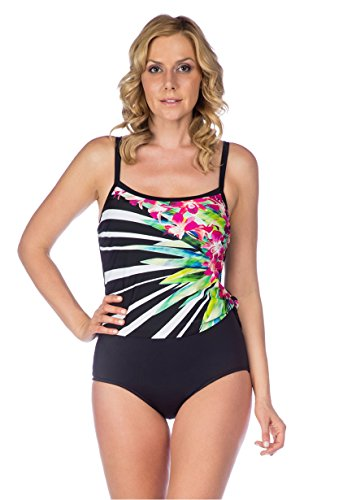 Maxine Of Hollywood Fan Floral Scoop Faux Tankini One Piece (12)