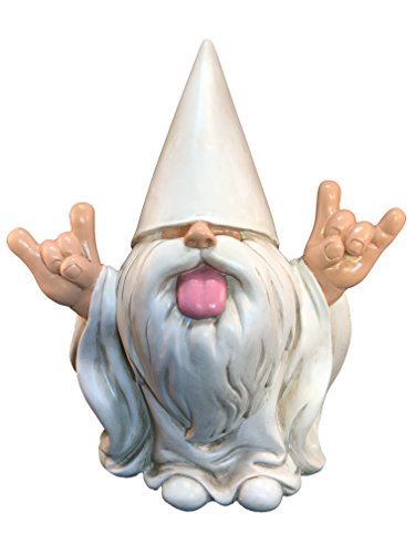 "Rocker Gnome – ""George"" – This Gnome will Rock your Fairy Garden and Garden Gnomes by GlitZGlam. 10 Inches Tall Garden Gnome Figurine (Hippie Rock)"