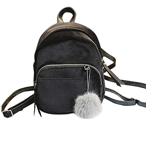 Velvet Backpack Girls Bags Black LMMVP School Pom Fashion by Bag Pom Fur Gift Ball Mini Shoulder Travel Women wS4fA0qx0