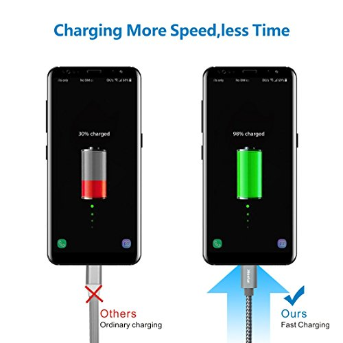USB C Cable Durable Nylon Brained,[5-Pack, 3Ft 3Ft 6Ft 6Ft 10Ft] Cleefun Fast Charge Type C Charger Cord Charging & Sync For Samsung Galaxy S8 S9 Plus Note 8, Lg V30 V20 G5 G6 Google Pixel Xl(Gray) by Cleefun (Image #3)