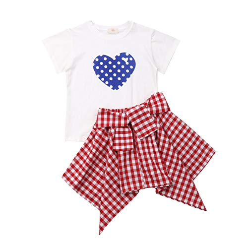 - Toddler Baby Girl Basic Short Sleeve Polka Dot Plaid Clothes Sets Heart T Shirts Skirts Outfits (Blue Heart+ Red/White, 3T)