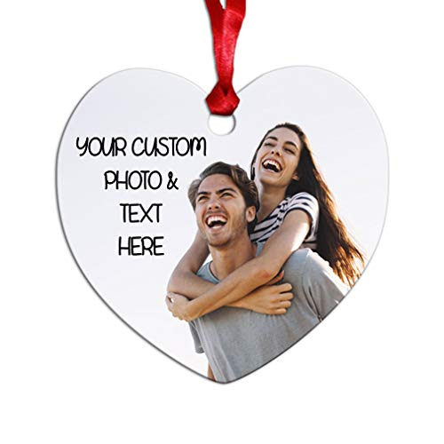 Style In Print Custom Holiday Christmas Ornament Custom Personalized Photo & Text Aluminum Heart Shape (Christmas Shapes Ornaments)