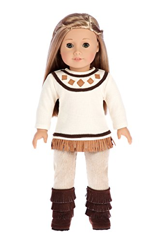 DreamWorld Collections - Pocahontas - 3 Piece Outfit - 18 inch Doll Clothes - Ivory Tunic, Corduroy Pants and Brown Boots. (Doll not Included)