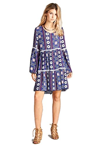 Boho-Chic Vacation & Fall Looks - Standard & Plus Size Styless - Velzera Crochet & Bell Sleeve Bohemian Print Tunic Dress Plus Size (Purple)