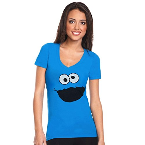 Cookie Monster Face V-Neck Junior Ladies T-Shirt-Junior X-Large [JXL] (Cookie Monster Headband)