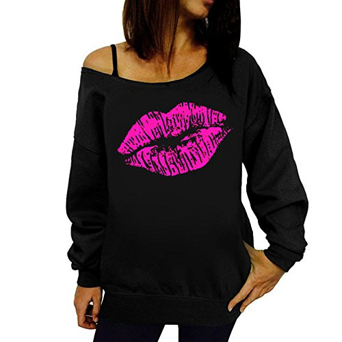 DBHAWK Fashion Sexy Women Printed Off Shoulder Pullover Strapless Sweatshirt Top Blouse -