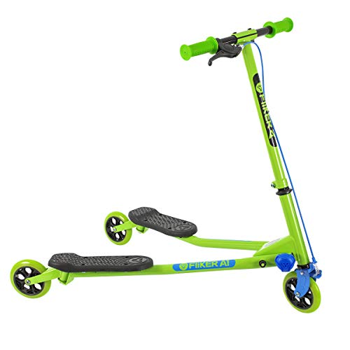 Yvolution Y Fliker Air A1 Swing Wiggle Scooter | Three Wheels Drifter for Boys and Girls Age 5 Years Old and Up, Green