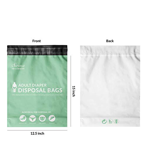 Sirona Premium Adult Diaper Disposable Bags - 30 Bags | Odor Sealing for Diapers, Food Waste, Pet Waste, Sanitary Product Disposal | Durable and Unsce