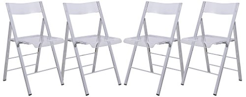 LeisureMod Milden Modern Acrylic Folding Chairs, Set of 4 (Clear) by LeisureMod
