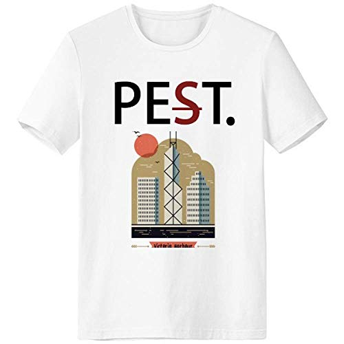 Hong Kong Victoria Harbour Pet But Not Pest White T-Shirt Short Sleeve Crew Neck Sport