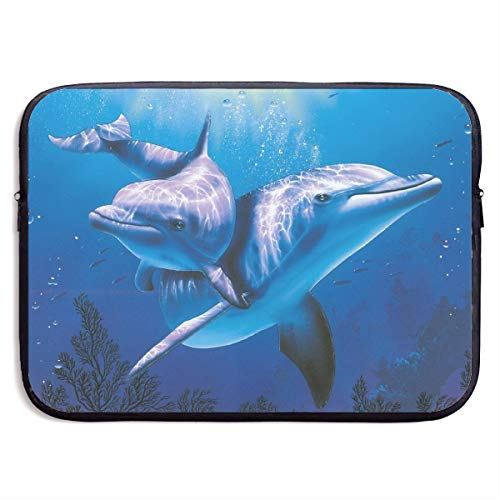 YuanQuann Dolphin Underwater Ocean 13-15 Inch Laptop Sleeve Bag Portable Dual Zipper Case Cover Pouch Holder Pocket Tablet Bag, Water Resistant, Black