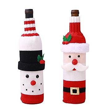 Kesote 2 Navidad Bolsas para Botella de Vino Bolsas con Diseño de Papá Noel y Muñeco de Nieve Navidad Decorativo Funda para Botella de Vino