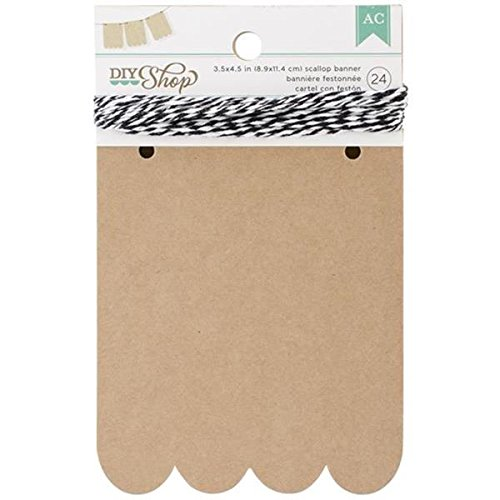 Scallop Banner (American Crafts 24-Piece Scallop DIY Shop Kraft Banner, 3.5 by)