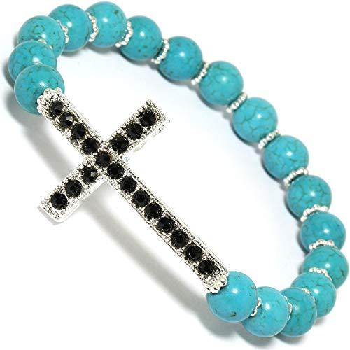 (AnsonsImages Cross Bracelet Stretch Black Rhinestones Turquoise Beads Silver Tone)