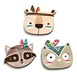 luvel (M2) - Set of 3 Cute, Colorful Indian Animal Heads in 3D-Effekt 17,5 x 16,5 cm as Wall Tattoo Children's Room and Children's Room Decoration - 10mm Plastic