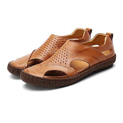 Leather Mens Slip amp;W H Sandals On Soles Non Gum Breathable Rubber slip Tan wFXZFqBn