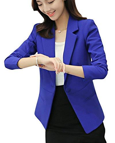 Lunga Autunno Slim Blau Di Manica Business Monocromo Tasche Bavero Saphir Cappotto Fit Giacche Primaverile Mode Blazer Vintage Giacca Ufficio Donna Con Da Marca Button Tailleur 7xwS0q