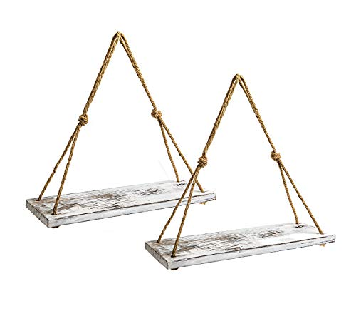- Y&ME Set of 2 Wood Hanging Shelves for Wall,White Rope Hanging Shelves with 4 Hooks for Home Wall Decor, 17