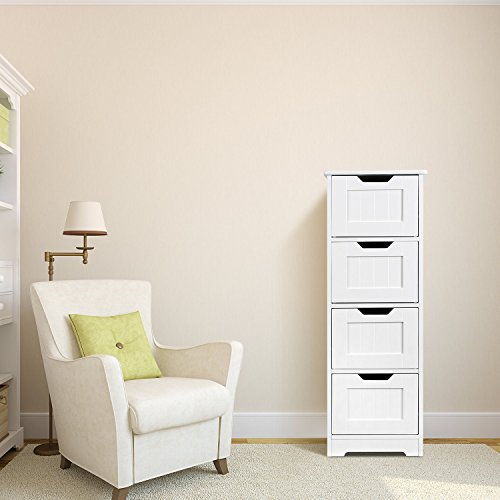Homfa Bathroom Floor Cabinet, Wooden Free Standing Storage Cabinet Side Organizer Unit with 4 Drawer, White